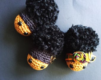 Kente Cloth Afro Puff Purse Charm