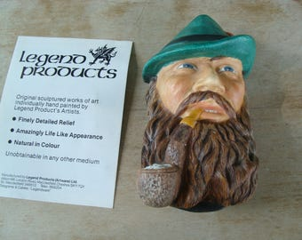 Vintage English Chalkware Head Bust Of A Man Smoking His Pipe Tyrolean Hand Painted Realistic Wall Hanging Wall Hanger Legend Products