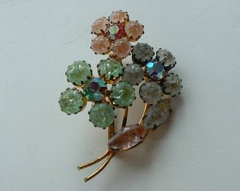 Vintage frosted glass flower brooch