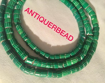 Venetian antique trade beads Green chevron Africa trade beads