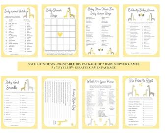 Yellow Giraffe Baby Shower Game Package, Yellow Gray Baby Games, Printable Giraffe Games, DIY Giraffe Baby Games - Printables 4 Less
