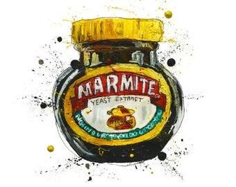 marmite, a3 art print, kitchen, food and drink, breakfast, homeware, british, illustration, painting