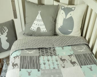 Patchwork quilt nursery items - Mint and grey geometric. arrows and deer (Grey minky backing)