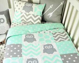 Mint and grey, gender neutral owl patchwork cot quilt, with mint accents nursery set items - floor mat, cot quilt, fitted sheet, bunting