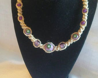 hemp necklace, hemp jewelry, jewelry, hippie, Handmade, macrame, hemp, necklace, purple, bead