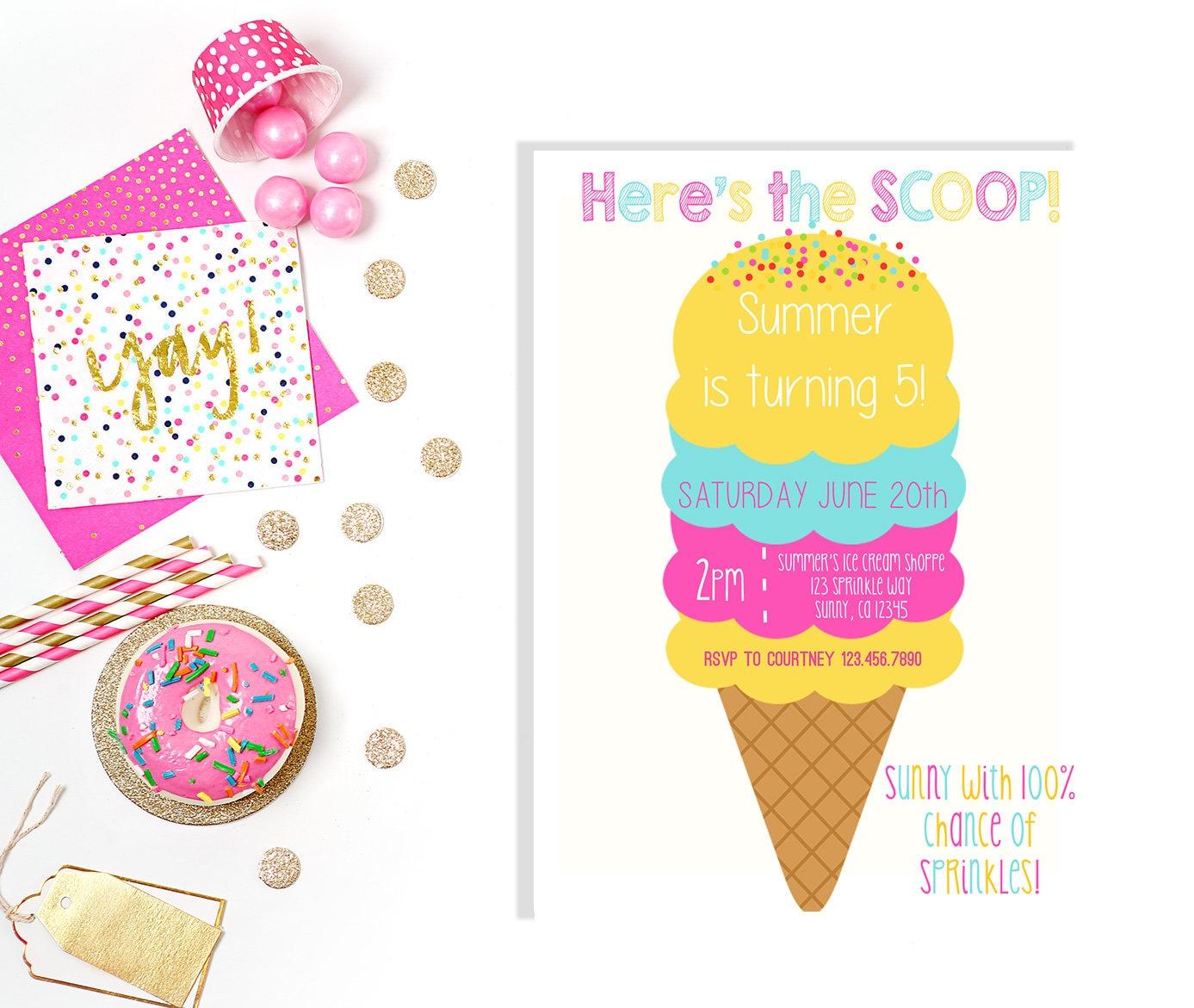 ICE CREAM Invitation- PRINTABLE- Ice Cream Party Invitation- Modern ...