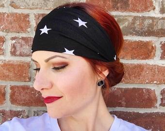 Star Headwrap, Black and White Star Headwrap, Women's Headband, Turban, Knot Headband, Yoga Headband, Patriotic Headband, Fitness, Workout