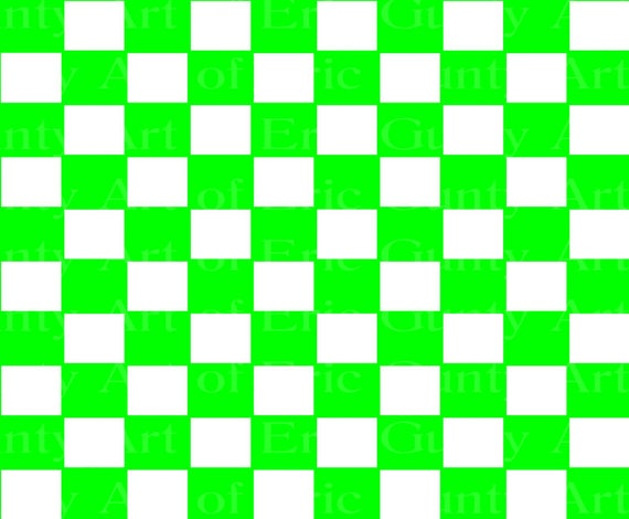 Green Checkerboard Birthday - Edible Cake and Cupcake Topper For Birthday's and Parties! - D22746