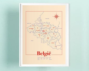 Map Belgium A3 screenprint -  11.4 x 16.5 in - A3 - Vanilla - Poster Belgium