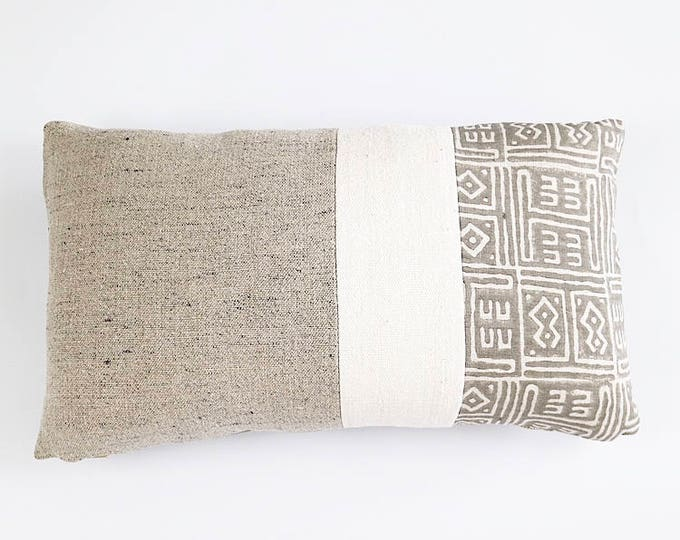 READY TO SHIP Belgian Linen, African Mudcloth And Hand Block Printed Linen Lumbar Pillow Cover 12x20