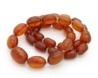 Genuine Bakelite Necklace 23 Grams, Root Beer Amber Bakelite Beads, Art Deco Jewelry, Graduated Bead Necklace Professionally Tested Bakelite