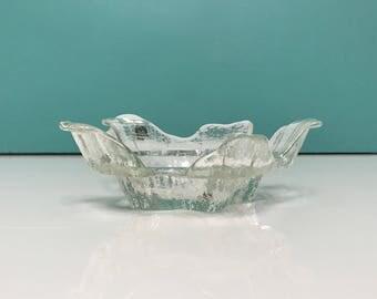 Vintage Muurla Finland Glass Candleholder, Glass Dish