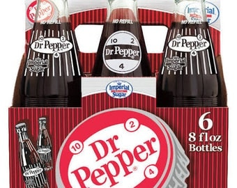 Dr Pepper Made With Real Imperial Sugar - 6 Pack Glass Bottles Fresh