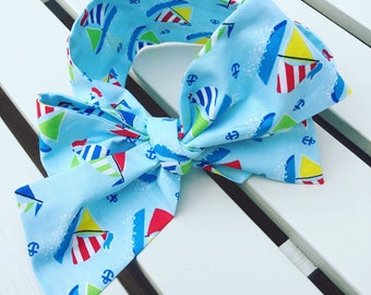 Girl's Headwrap Big Bow Cotton Headband in blue boats nautical sailor cotton fabric