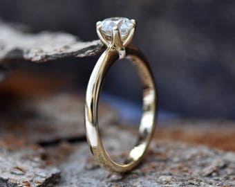 Classic diamond ring-Diamond Solitaire Ring-Art deco engagement Ring-Gold ring-Promise ring -Solitaire engagement ring-For her jewelry