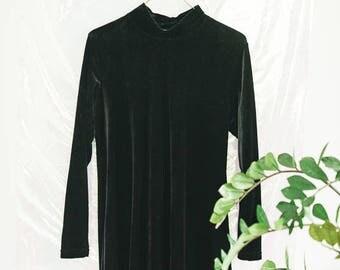 Womens Black Vintage Velvet High Neck Tent Dress