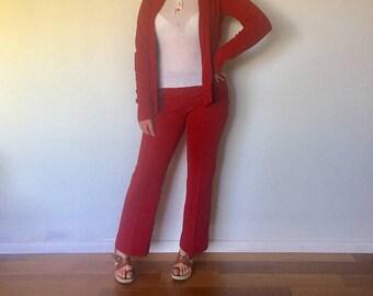 70s Suit Flare Leg Pants Cardagin Jacket Size S M 6 7 by Marabella Knits