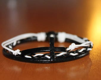 Leather Bracelet black and white with a cross, aimente