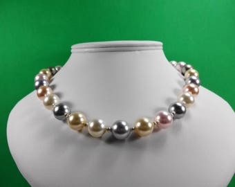 Multi Colored Crystal and Sterling Silver Necklace