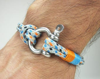 EXPRESS SHIPPING Men Bracelet, Nautical Bracelet,Survival Bracelet Stainless steel Shackle - Paracord Bracelet/Gray,Orange,Blue Rope
