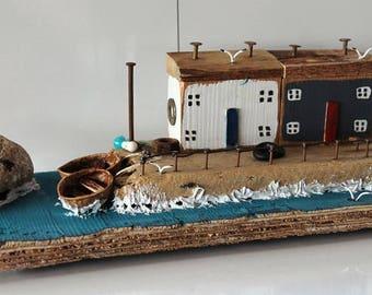 Little houses, Herbour scena, Driftwoods houses, Rustic Houses, Driftwood Cottage, Reclaimed wood art, Driftwoods art