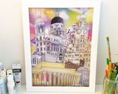 Liverpool 3 graces and St Georges Hall print  unframed (1 of 2 designs)