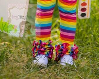 Rainbow Ruffle Pants - Girls Rainbow Ruffle Bottoms - Bright Fun Summer Colors , Ruffles Bottoms , Pants
