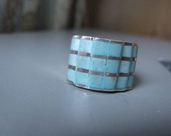 Sterling Silver Turquoise Cigar Band Ring 6.5 (1908)