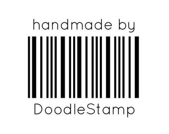 "Custom Barcode Stamp, Personalised Name Stamp, Packaging Stamp, Card Stamp, Custom Name, 1.5""x1.3"" (cts230)"