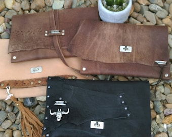 Leather Dusk Clutch. Different soft leather colours available- black, distressed brown, tan