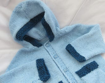 Blue Hoodie Sweater/Jacket/Hand Knit/Size 4/Birthday Gift