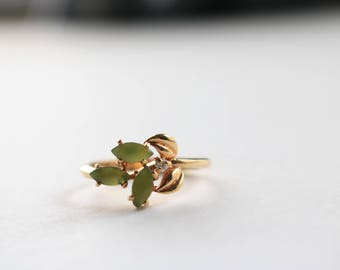 Green Leaf Gold Ring - Size 7.25 Ring For Women