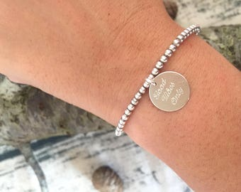 925 silver bracelet with hand-engraved round pendant
