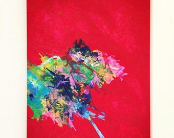 SALE Red Abstract XL Art Flow Large Painting Pink Red Blue Art Original Painting Red Acrylic Art Large Minimalist Art Pour Painting 22x28 ca