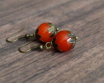 Vintage Style Earrings, Handmade Earrings, Gift Idea, Gift For Her, Orange Earrings, Boho Earrings, Wedding earrings, Handmade Jewelry