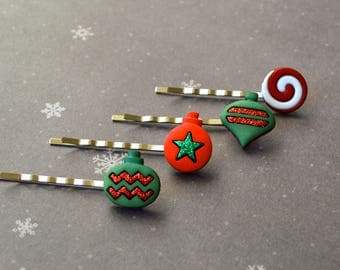 Christmas Bobby Pins. Bobby Pins. Winter Decoration Bobby Pins. Gift For Christmas. Gift Under 25 Dollar. Christmas Ball Hair Accessory.