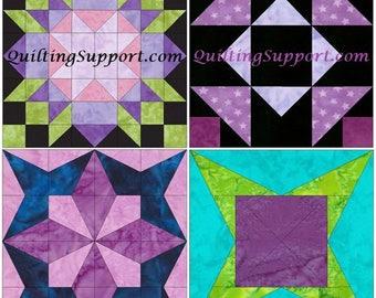 10 Inch Star Set 1 Paper Foundation Piecing Quilting 4 Block Patterns PDF