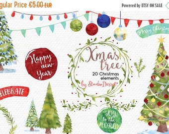 SUMMER SALE - 55% OFF Christmas Cliparts, Watercolor Christmas Clip Art, Christmas Tree, Watercolor Overlays, Winter Card Elements Commercia