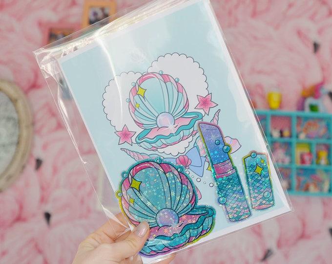 Print & Sticker Pack, Mermaid Illustration A5 Archival Fine Art Print