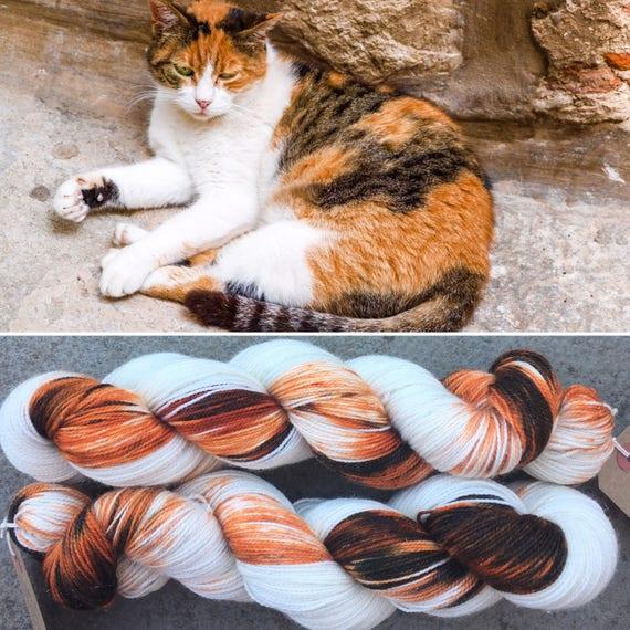 Calico Cat Sparkle Sock, superwash merino nylon blend indie yarn