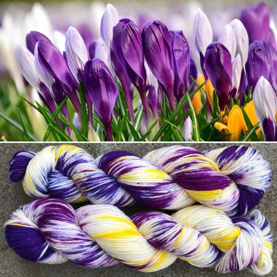 Crocus Patch DK, purple speckled merino nylon blend yarn