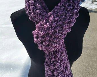 Purple Scarf, Purple Infinity Scarf, Lavender Scarf, Purple Chunky infinity, Cuff Scarf, Infinity Cowl, Purple scarves, Button Scarf Cowl