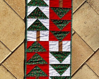 "Christmas Tree table runner in red, green and white - 12.25"" x 48"" long"