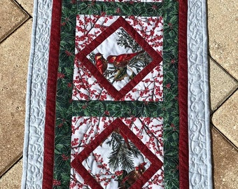 Christmas runner with Birds and Berries - sparkles - one of a kind