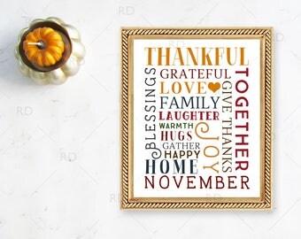 Fall Themed Typography Word Art - Printable Wall Art / Fall with leaf wall print / Fall Word Art / Autumn Themed Wall Art / Fall Wall Print