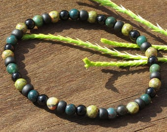SCORPIO BOY'S POWER Healing Stone Bracelet with Bloodstone, Obsidian and Unakite!