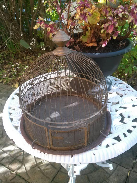 Antique Birdcage,  Victorian Dome,  Vintage Bird Cage,  Metal Cage,  Dome Birdhouse,  Art Deco Bird,  Art Nouveau,  French Birdcage