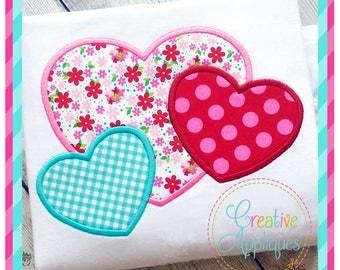 Hearts Trio Valentine Digital Machine Embroidery Applique Design 4 Sizes