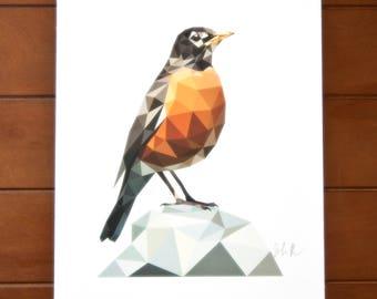 Geometric Bird 8x10 Print - American Robin
