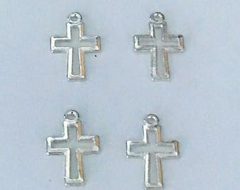10 pcs Silver Tone two-sided Cross Charms Pendants Double 17mm x 10.5mm